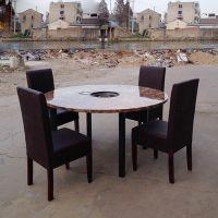 仿大理石桌面餐桌 火锅店圆桌 现代中式风格餐桌椅海德利直销