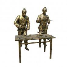 铸铜传统制饼人物雕像玻璃钢古代打月饼男子铜塑像制作饼干卖点心情景雕塑甜点饼屋面包房形象宣传摆件