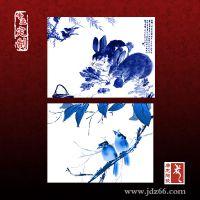 手绘青花瓷片 高档红木家具镶嵌陶瓷手绘青花瓷片