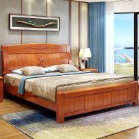 现代中式1.8米橡胶木床婚床简约1.5米