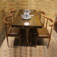 美式主题餐厅桌工业风餐桌长方形复古怀旧个性餐桌4人