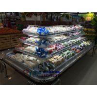 邵通鲜果超市环形岛柜,四面敞开带拉帘风幕柜,徽点商超冷藏柜低温奶展示