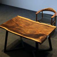 实木整板餐桌自然边设计师桌大板桌泡茶桌椅南美胡桃木原木办公桌