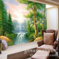 无纺布墙纸壁画 大型欧式壁画 客厅电视欧式背景墙 黄金大道树林