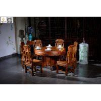 东阳如金红木家具餐桌象头圆餐桌非洲花梨缅甸花梨餐桌椅