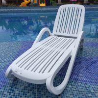 白色塑料折叠椅 户外躺椅 沙滩躺椅 午睡躺床凳子