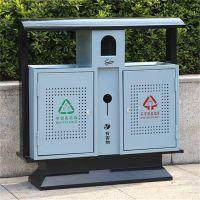 河北绿美供应小区果皮箱 公园景区垃圾桶 双桶垃圾桶 镀锌板垃圾桶 厂家批发