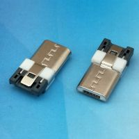MICRO 焊线式公头5P 前五后四 L=13.7MM 白色胶芯MICRO USB连接器