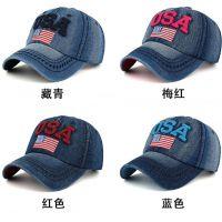 外贸原单牛仔布运动帽 USA字 美国国旗棒球帽鸭舌帽 遮阳帽子
