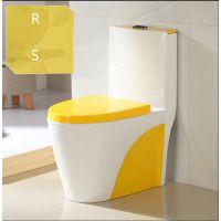 陶瓷耐用家装顶按彩色彩金马桶虹吸式座便器