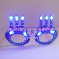 创意生日闪光蜡烛 party蛋糕道具LED发光工艺蜡烛生日眼镜