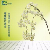 东初批发壁挂单支樱花 婚庆装饰绢花室内仿真植物墙 人造影楼装饰樱花