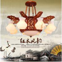 进丰 中式红木吊灯客厅吊灯 天然云石灯 红木灯具厂家