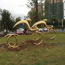 玻璃钢人物骑自行车抽象雕塑 校园运动主题雕塑