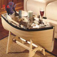 楚风木船厂家直销 中式仿古休闲观光旅游船 创意家居船形客厅茶几