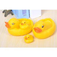 工厂定制搪胶玩具 小黄鸭婴儿宝宝戏水捏捏叫 漂水大小黄鸭套装 戏水洗澡娱乐