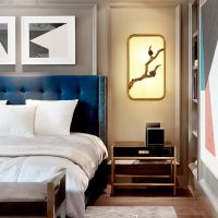 新中式壁灯 古典布艺客厅玄关酒店茶楼会所装饰LED灯