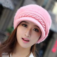 加绒韩版针织帽潮鸭舌帽冬天秋冬季女士女式贝雷帽兔毛帽子毛线帽
