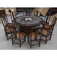 厂家直销 大理石实木火锅餐桌 电磁炉火锅子 不锈钢简易餐厅桌椅