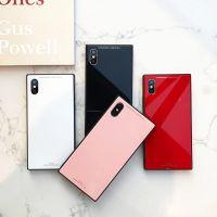 NEW 新款方形质感纯色玻璃苹果X手机壳iPhone7/8plus个性创意软边