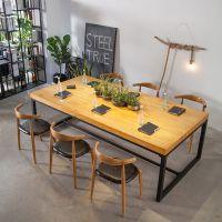现代简约会议办公桌商用新中式茶桌铁艺原木洽谈桌配牛角椅
