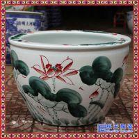 名家纯手工山水花卉陶瓷缸 国画陶瓷水墨大缸