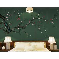 ***新款新中式梅花工笔画花鸟软包背景墙装饰画 电视沙发墙壁画批发 大批量出售新中式墙纸壁画 厂家直销