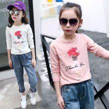 韩版童装纯色纯棉儿童长袖打底衫柔软透气童T恤爆款厂家特批发