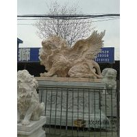 大理石狮子欧式趴狮园林商场摆件晚霞红石雕狮子招财风水动物蹲狮 玖坊雕塑