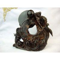 供应印度小叶紫檀雕刻手玩件雕件工艺品 精雕龙鱼摆件 旭日东升H567号