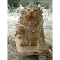 石雕狮子 晚霞红大理石带底座爬狮 欧式狮子 镇宅门口装饰摆件 玖坊雕塑