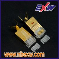 进口大孔径七类,超六类RJ45屏蔽水晶头镀金50U