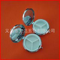供应高档圆形金属三格药盒 环保药丸盒 便携一周小药盒可定制logo