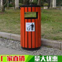献县鑫建生产防腐木单圆筒 垃圾箱果皮箱 景区钢木垃圾桶 厂家批发