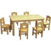 儿童原木桌椅 幼儿园桌椅 4人六人餐桌 成都厂家批发销售