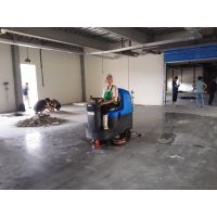 威海物流仓储水泥固化地面用容恩R125BT85驾驶式洗地机
