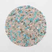 天然绿松石圆形烫片 14*14CM米珠单尖乱钻烫钻烫图 时尚箱包服饰配件