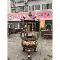 圆形六龙柱铸铁寺庙香炉 福建泉州泉港天地炉 插香生铁香炉