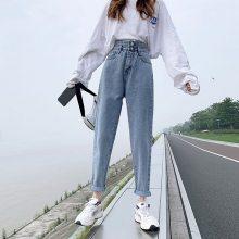 新款牛仔裤批发 韩版长裤批发厂家货源 时尚破洞牛仔裤
