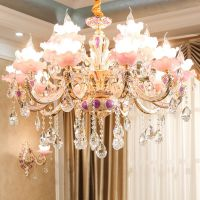 锌合金水晶吊灯欧式客厅奢华大气玉石别墅餐厅蜡烛套餐吊灯具6163