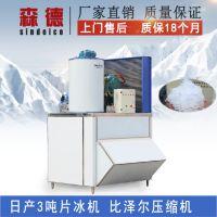 森德大型超市片冰制冰机 日产3吨冰片冷冻展示保鲜制冰机 食品保鲜片冰机