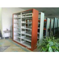 供应木护板六层双面书架 学校图书馆专用图书架 钢制双面书架