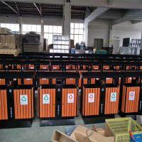 沧州绿美生产供应街道铁制垃圾桶 分类钢木果皮箱 分体垃圾桶