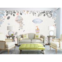 2017年房地产***新样板房壁画墙纸定制 现代简约花卉电视背景墙 厂家直销