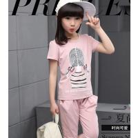 批发新款夏季儿童纯棉短袖T恤童套装 男童女童套装2017年夏季童装
