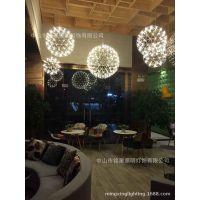 LED吊灯创意火花球餐吊灯艺术餐厅球形灯款酒店宴会厅吊灯具厂家