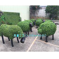 紫萱工艺 厂家直销 玻璃钢仿真绿雕绿色彩色动物造型公园广场景观雕塑制作定做绿雕工艺品