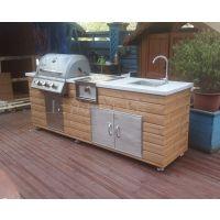 北欧小院G240 碳化木户外整体厨房 别墅庭院烧烤台 烧烤台图片 抛光