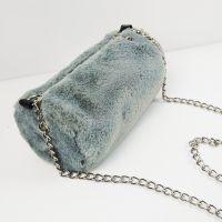 厂家环保灰色韩国绒便当包定做棉布袋学生毛绒链条包定制