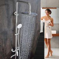 绮美斯浴室304不锈钢挂墙式明装大淋浴增压花洒套装淋浴器冷热水龙头